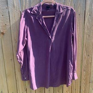 ASPESI | Purple Silk Partial Button Collar Blouse